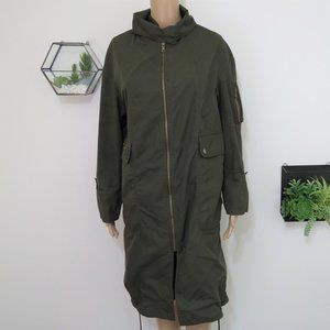 Zara Woman Army Green Light Weight Trench S